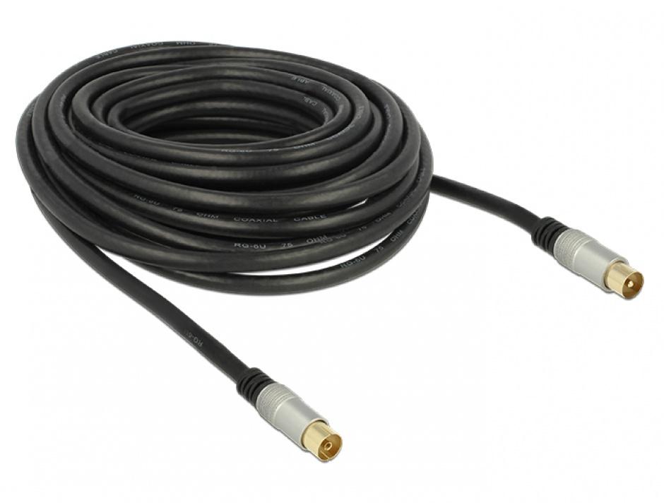 Imagine Cablu de antena IEC Plug la IEC Jack RG-6/U ecranat 10m Negru Premium, Delock 88952
