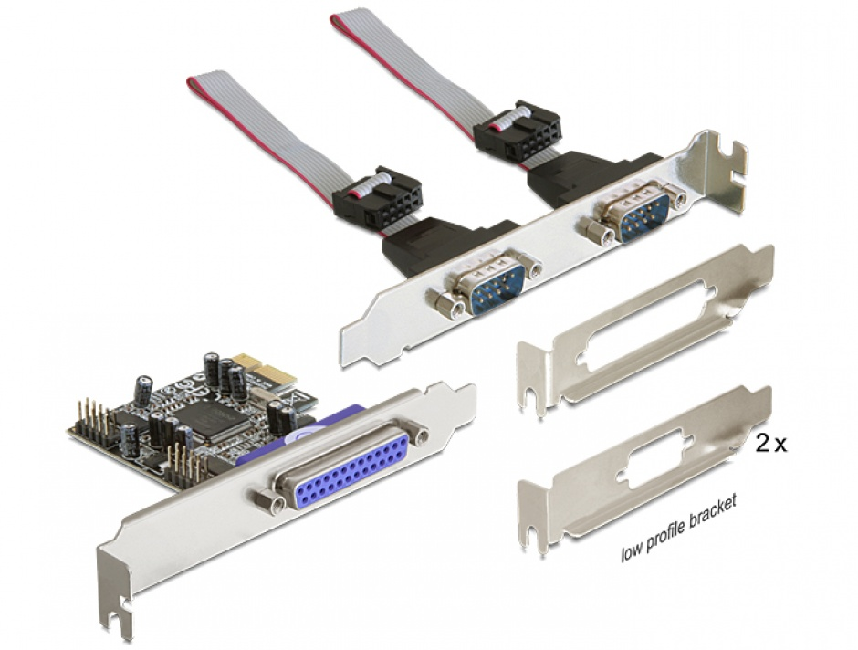 Imagine PCI Express cu 2 x Serial RS232 + 1 x paralel DB25, Delock 89129