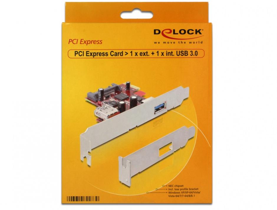 Imagine Placa PCI Express la 1 x USB 3.0 extern si 1 x USB 3.0 intern, Delock 89273