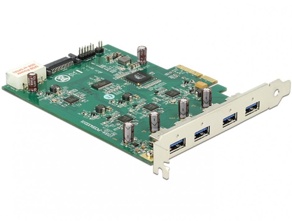 Imagine PCI Express Card cu 4 x USB 3.0 externe Quad Channel, Delock 89325