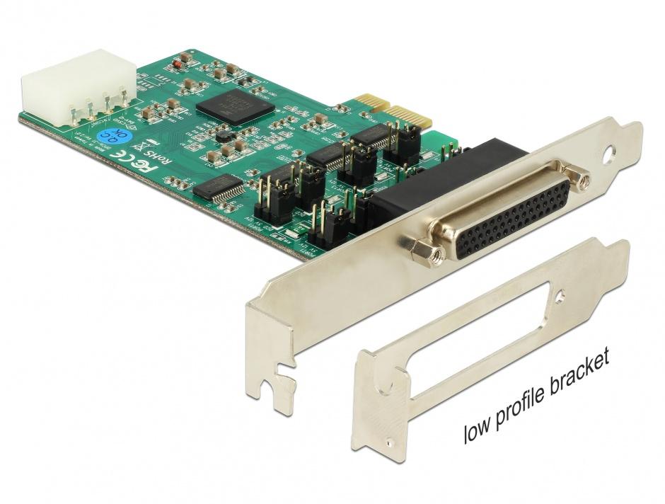 Imagine PCI Express cu 4 x Serial RS-232 High Speed 921K cu Voltage supply, Delock 89335