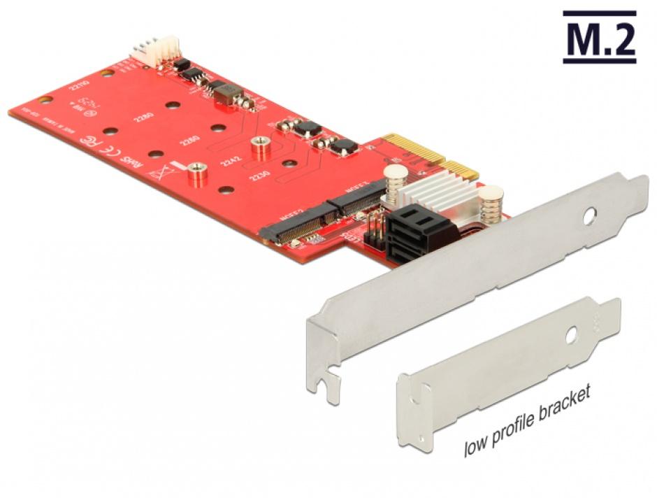 Imagine PCI Express la 2 x M.2 NGFF + 2 x SATA 6 Gb/s cu RAID, Delock 89379