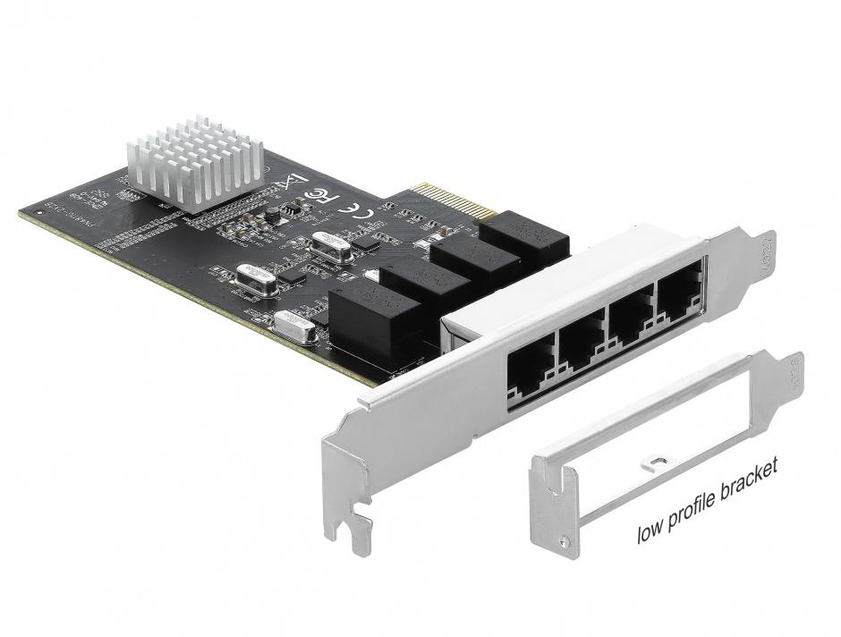 Imagine PCI Express la 4 x Gigabit LAN, Delock 89567