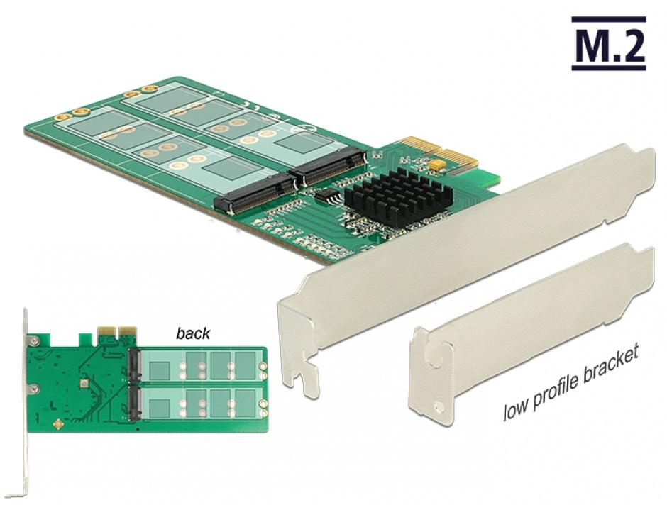 Imagine PCI Express la 4 x internal M.2 Key B - Low Profile Form Factor, Delock 89588