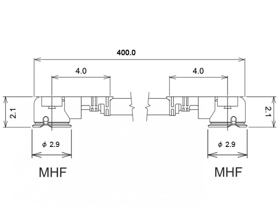 Imagine Cablu antena MHF / U.FL-LP-068 plug la MHF / U.FL-LP-068 plug 40cm 1.13, Delock 89610