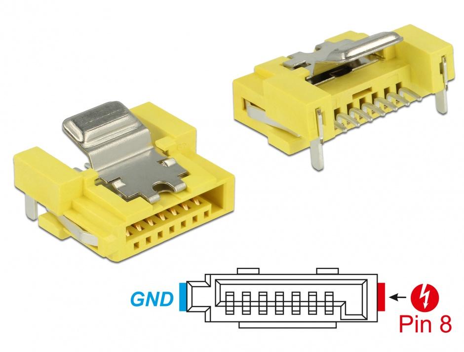 Imagine Conector de alimentare SATA 6 Gb/s 8 pini mama, Delock 89887
