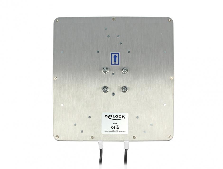 Imagine Antena exterioara LTE MIMO 2 x SMA Plug 8 dBi directionala + cablu RG-58 10m, Delock 89891