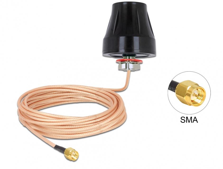 Imagine Antena exterioara LTE SMA 2 dBi fixa omnidirectionala + cablu RG-316U 5m, Delock 89899