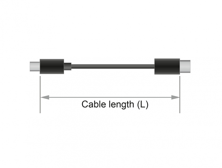 Imagine Cablu de alimentare DC 5.5 x 2.5 x 9.5 mm la fire deschise 95cm, Delock 89908