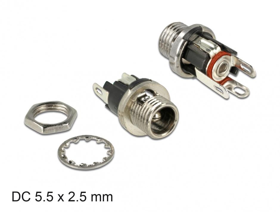 Imagine Conector mama DC 5.5 x 2.5 x 9.5 mm bulkhead, Delock 89911