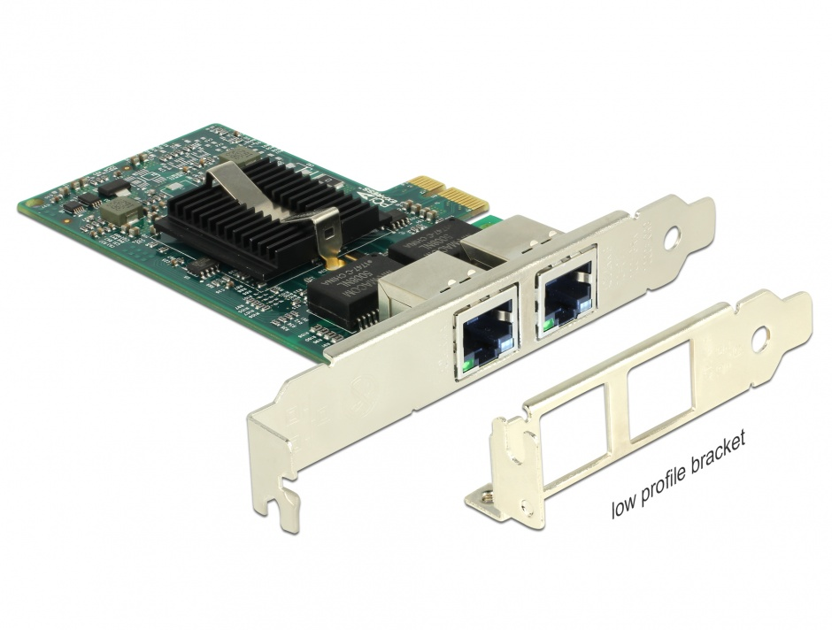 Imagine  PCI Express la 2 x Gigabit LAN chipset Intel 82576, Delock 89944