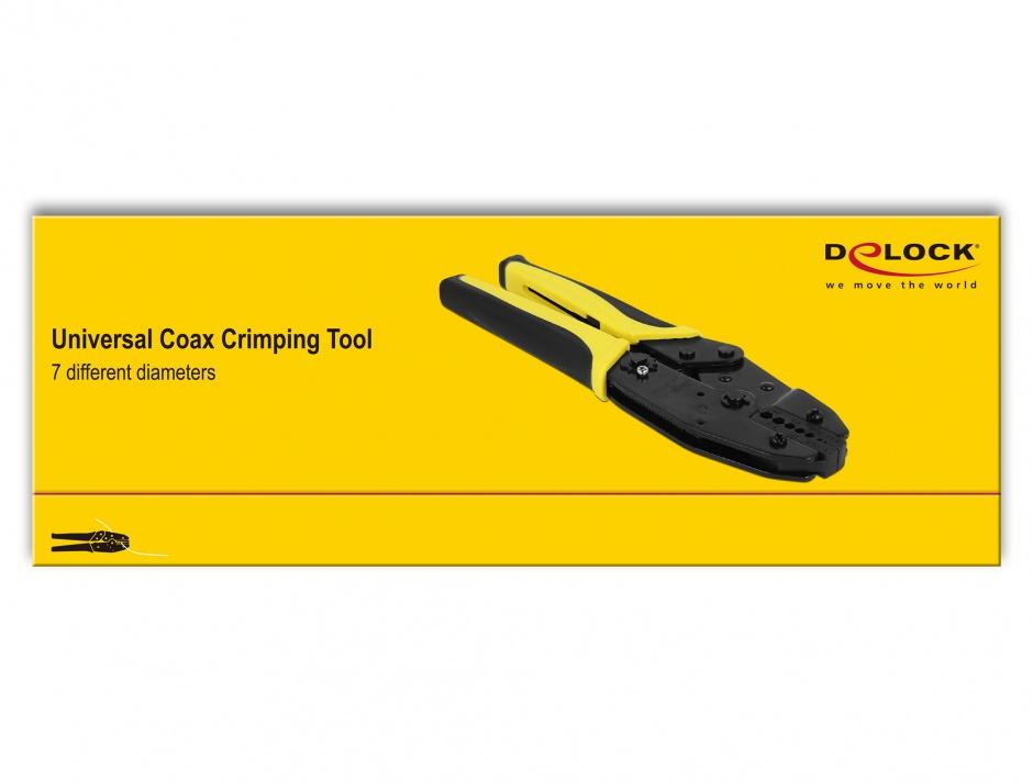 Imagine Cleste de sertizare pentru cablu coaxial RG58/RG-174/RG140/RG-316, Delock 90296