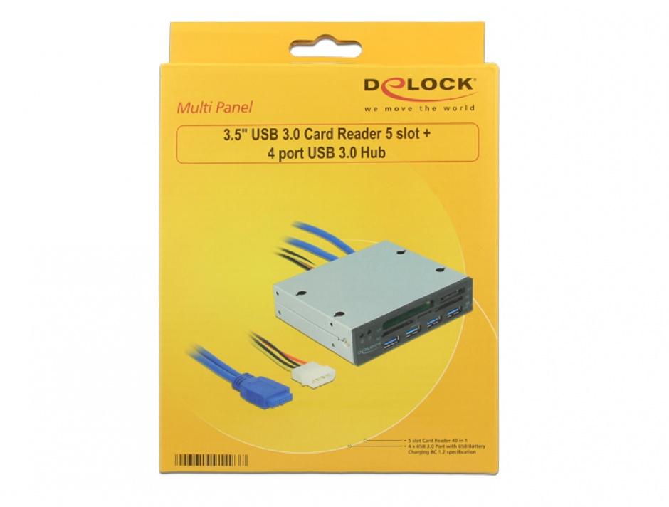"Imagine Cititor de carduri 3.5"" 5 sloturi + 4 x USB 3.0, Delock 91493"