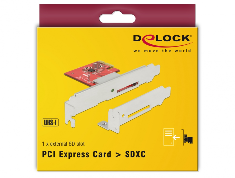 Imagine PCI Express la 1 slot extern SDXC, Delock 91743