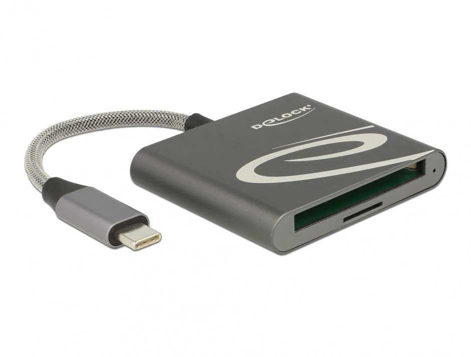 Imagine Cititor de carduri USB-C pentru carduri de memorie Compact Flash sau Micro SD, Delock 91744