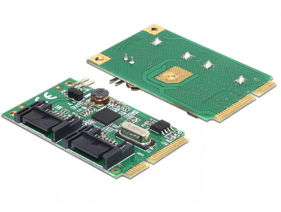 Imagine Mini PCIe I/O PCIe full size la 2 x SATA 6 Gb/s, Delock 95233