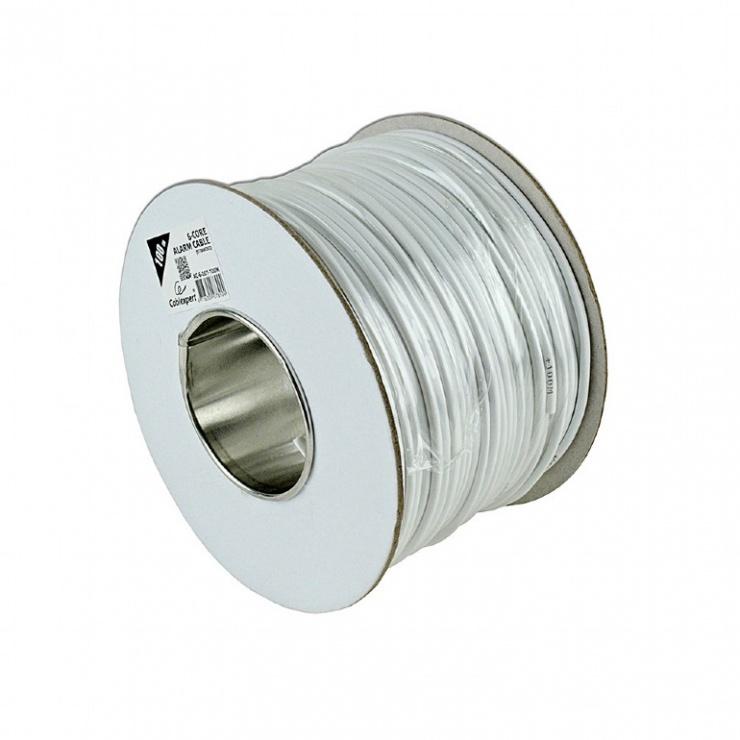 Imagine Rola 100m cablu pentru alarma cupru Alb, Gembird AC-6-002-100M