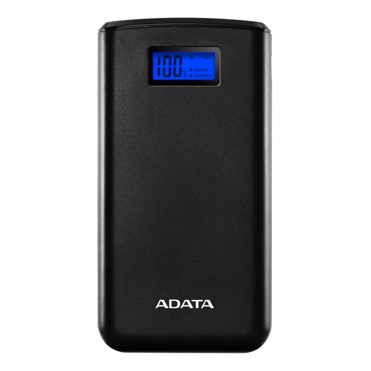 Imagine Power bank 20000mA cu 2 x USB si Display, ADATA S20000D LiPo