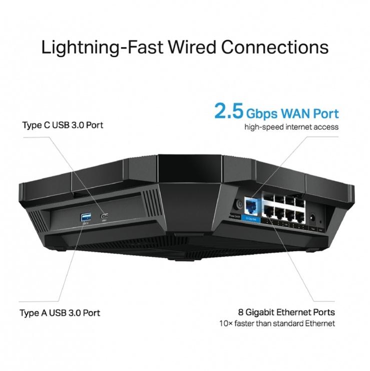 Imagine Router wireless Dual Band 802.11ax/Wi-fi 6 cu 6 antene externe, TP-LINK Archer AX6000