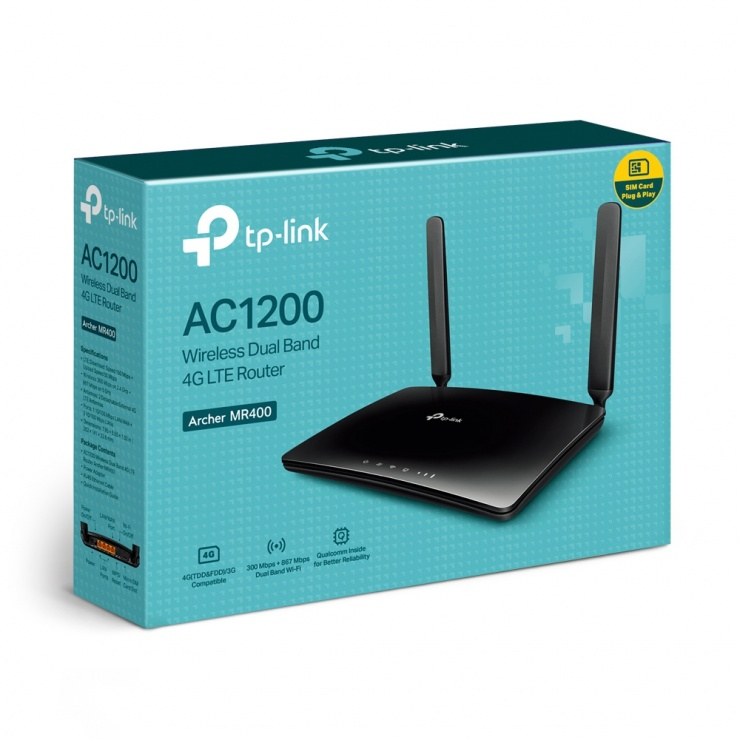 Imagine Router Wireless 4G LTE Dual Band AC1350, TP-LINK Archer MR400