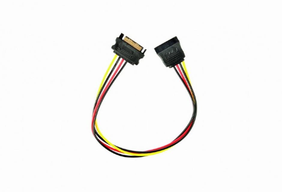 Imagine Cablu prelungitor alimentare SATA 15 pini T-M 30cm, Gembird CC-SATAMF-01
