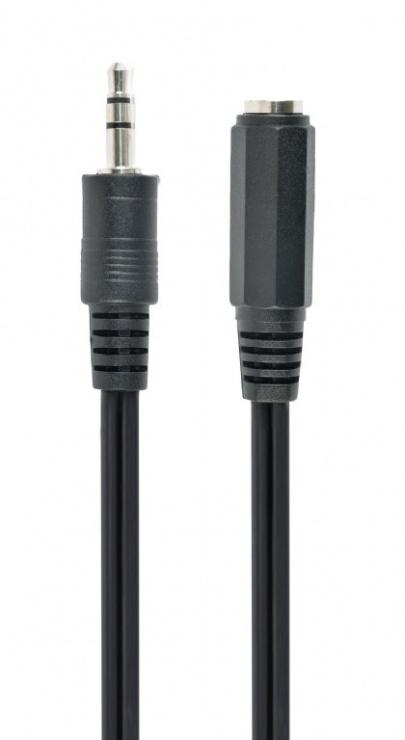 Imagine Cablu prelungitor jack stereo 3.5mm M-T 5m Negru, Gembird CCA-423-5M