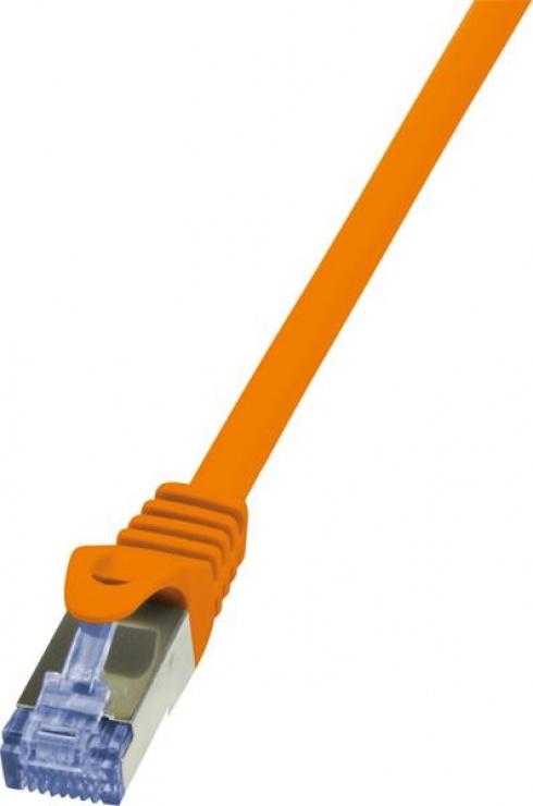 Imagine Cablu de retea RJ45 SFTP cat6A LSOH 0.25m orange, Logilink CQ3018S