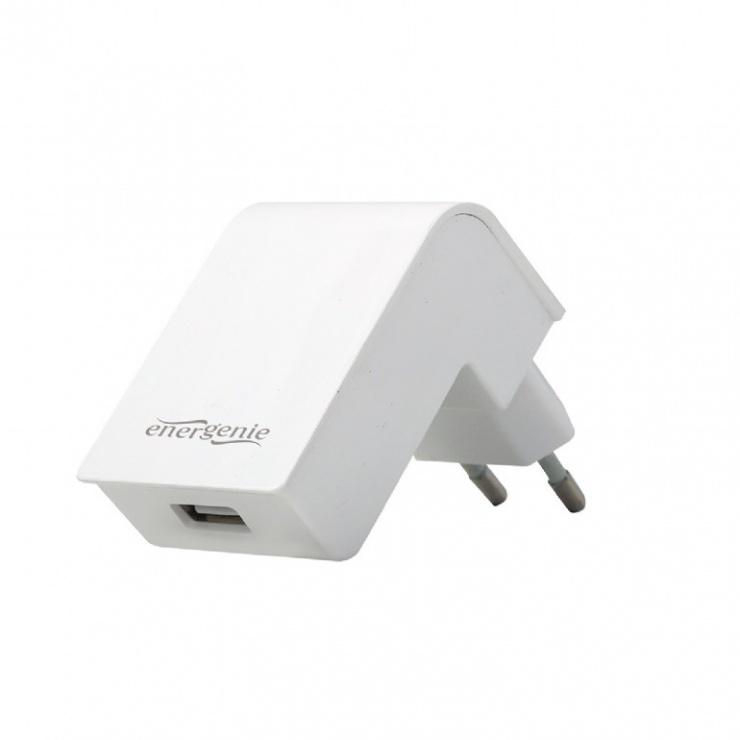 Imagine Incarcator priza 1 x USB 2.1A Alb, Energenie EG-UC2A-02-W