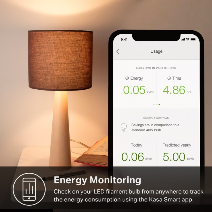 Imagine Bec inteligent Wi-Fi cu filament Kasa Smart LED Alb E27, TP-LINK KL50 (include timbru verde 0.25 lei