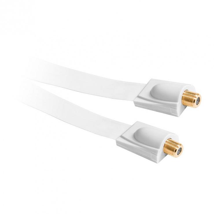 Imagine Cablu antena coaxial flat F M-M Alb, KPO3834F
