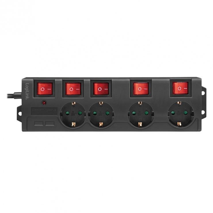 Imagine Prelungitor cu 4 x Schuko + switch ON/Off 1.5m Negru, Logilink LPS251