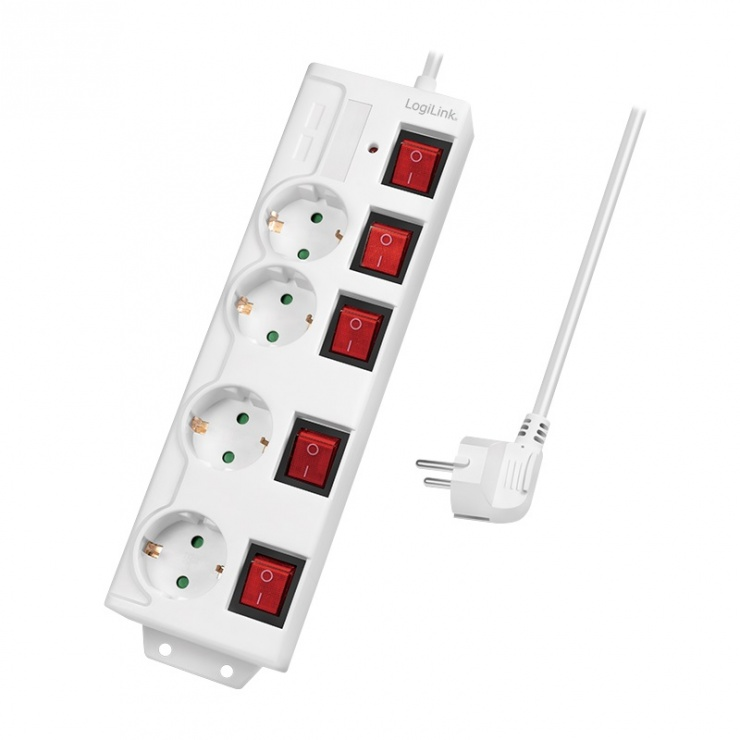 Imagine Prelungitor cu 4 x Schuko + switch ON/Off 1.5m Alb, Logilink LPS252