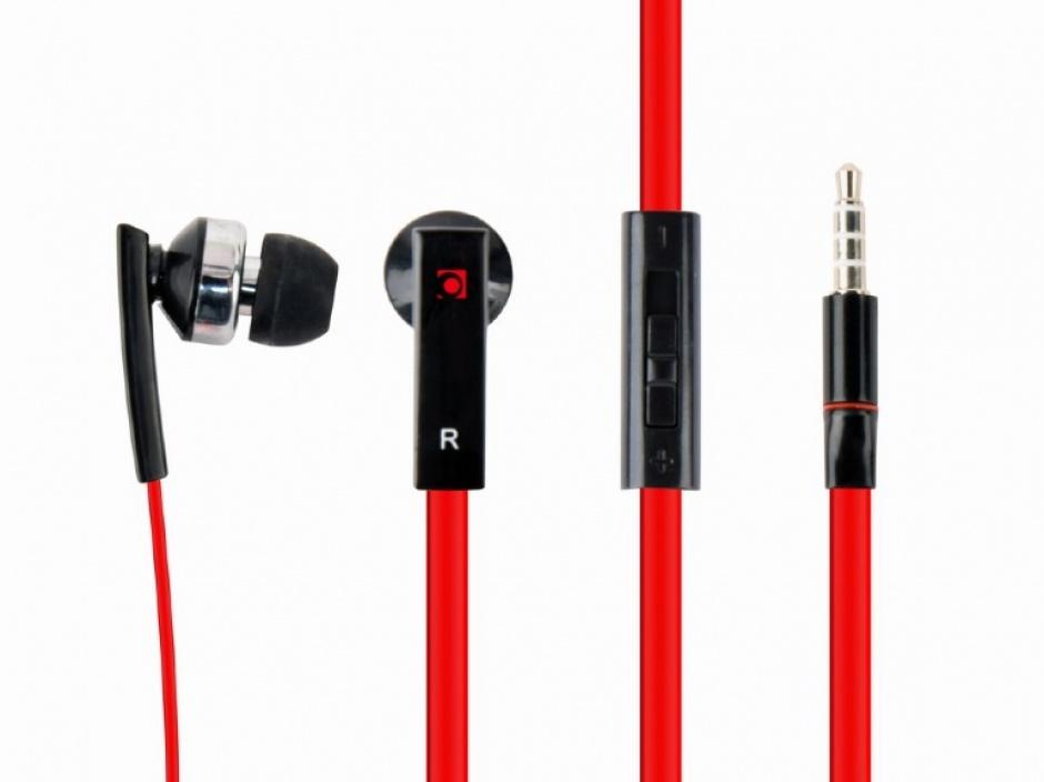 Imagine Casti interne cu microfon negru/rosu, Gembird MHS-EP-OPO
