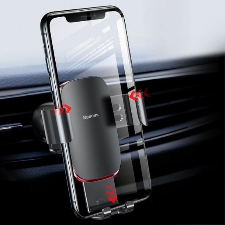 Imagine Suport auto magnetic pentru smartphone cu montare ventilator Argintiu, Baseus Baseus MetalAge/Air