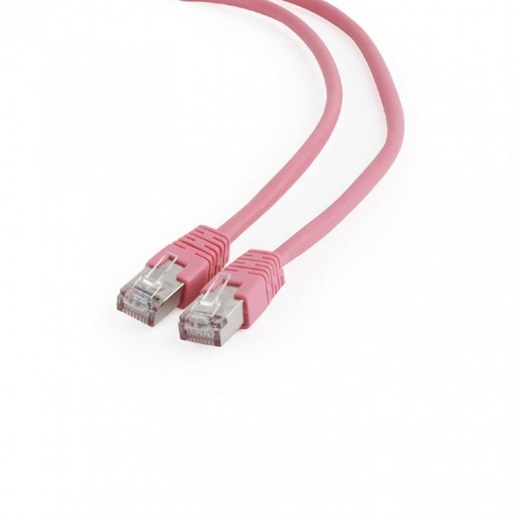 Imagine Cablu de retea RJ45 FTP cat6 0.25m Roz, Gembird PP6-0.25M/RO