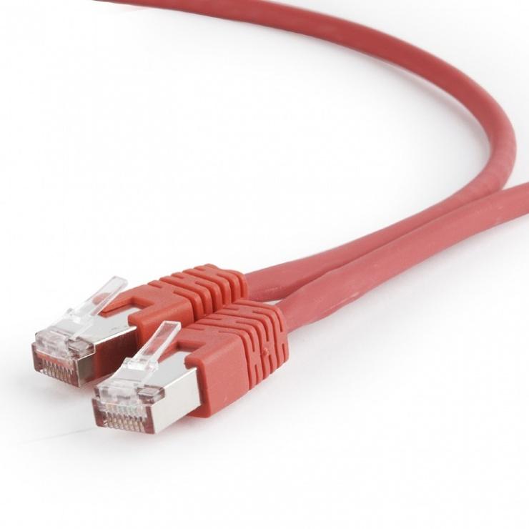 Imagine Cablu de retea RJ45 SFTP cat 6A LSOH 0.25m Rosu, Gembird PP6A-LSZHCU-R-0.25M