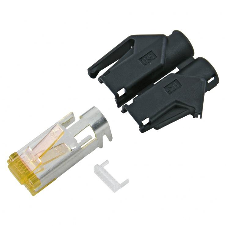 Imagine Conector de retea RJ45 cat. 6A Negru, RJ45C6A-SW