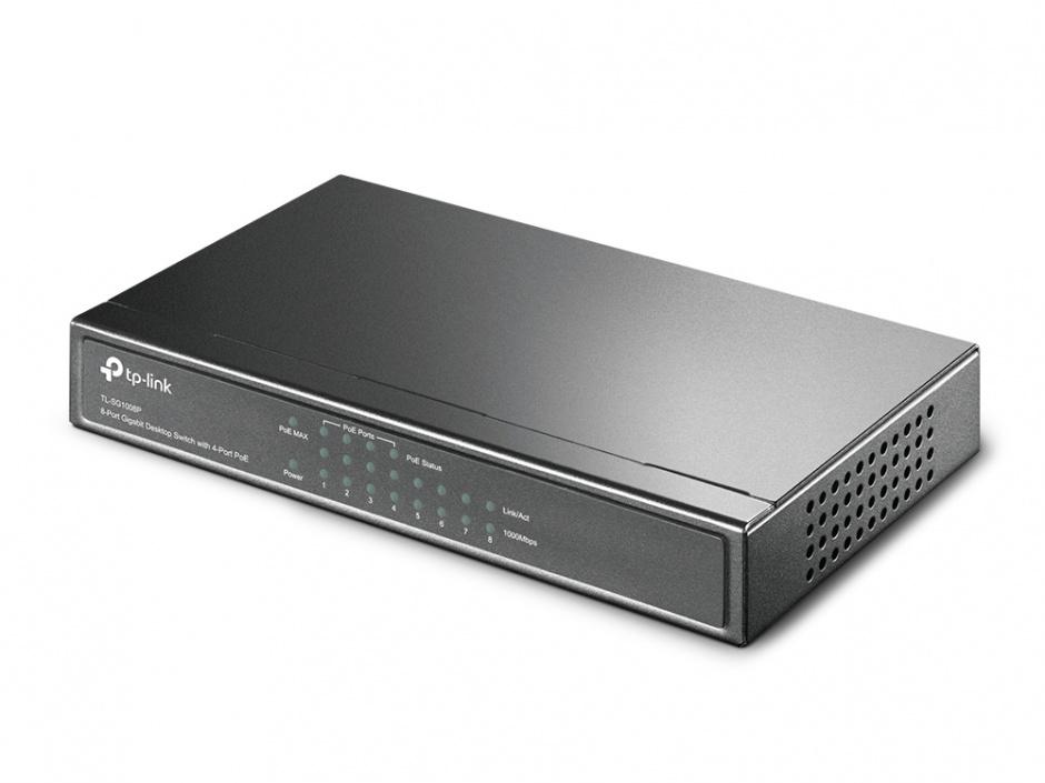 Imagine PoE (Power Over Ethernet) Switch 8 Porturi 10/100M (4 porturi PoE). Gigabit, carcasa metal TL-SG1008