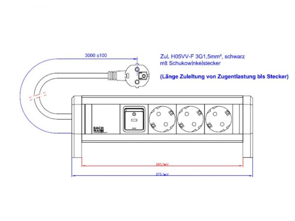 Imagine Priza birou DESK 1 cu 3 x Schuko + Switch 3m Negru, BACHMANN 339.1001