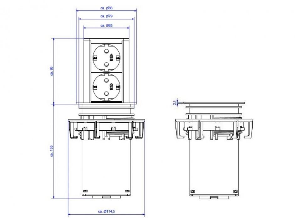 Imagine Priza elevator cu 2 x Schuko, Bachmann 928.002