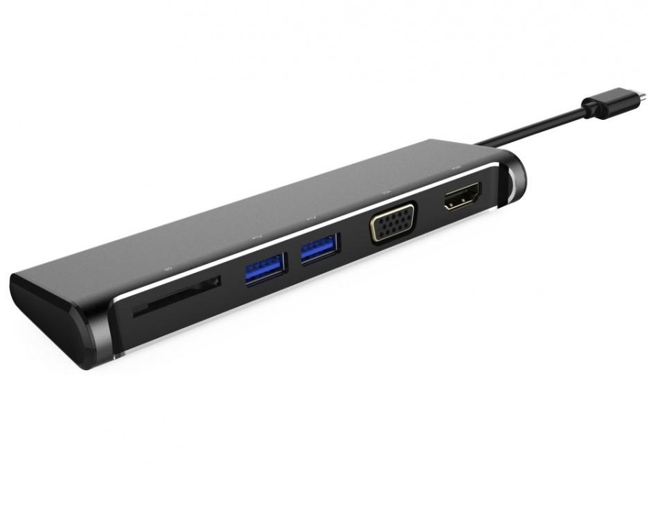 Imagine Docking station USB-C la 4K HDMI + VGA + cititor de carduri SD + 2 x USB 3.0