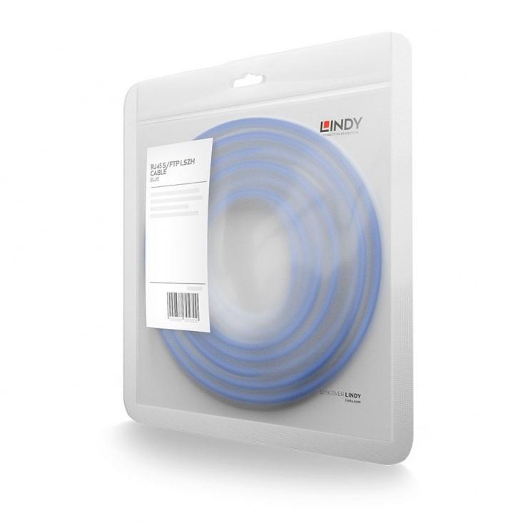 Imagine Cablu de retea S/FTP cat 7 LSOH cu mufe RJ45 Albastru 1m, Lindy L47277
