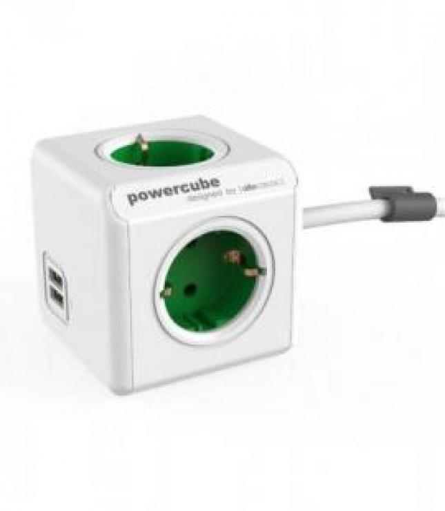 Imagine Prelungitor in forma de cub PowerCube Extended 4 prize si 2 x USB 1.5m Verde, Allocacoc