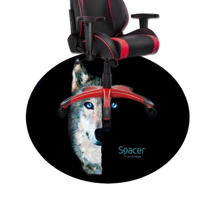 Imagine Covor gaming rotund 120cm Wolf, Spacer SPFP-WOLF-120