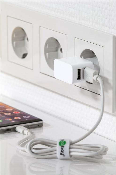 Imagine Incarcator priza 2 x USB 2.4A Alb, Goobay 44952