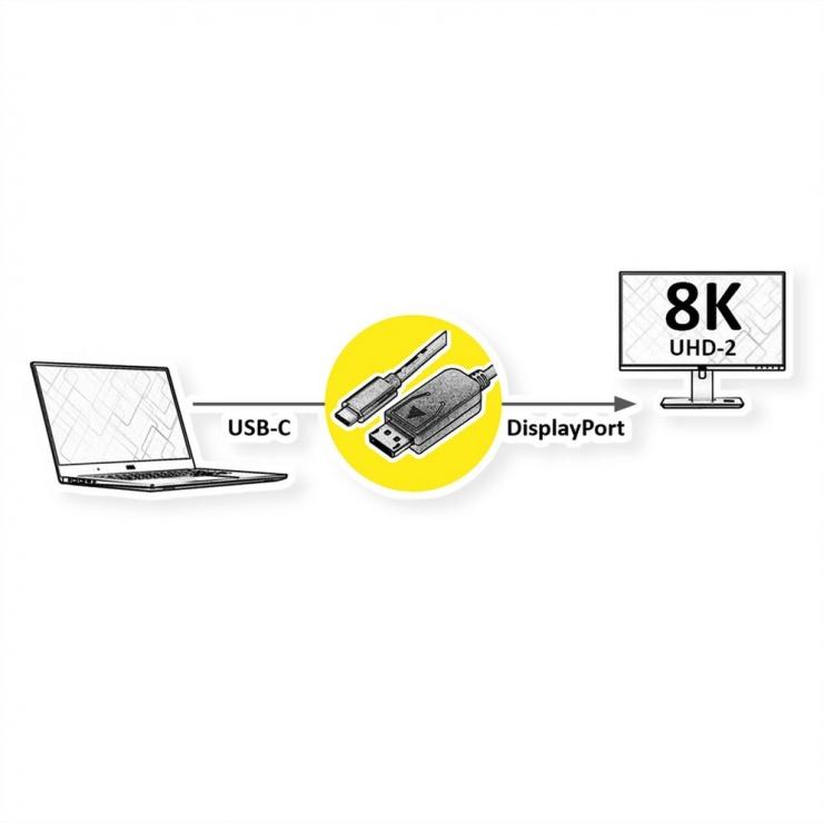 Imagine Cablu Type C la DisplayPort 8K60Hz T-T 1m Negru, Roline 11.04.5835