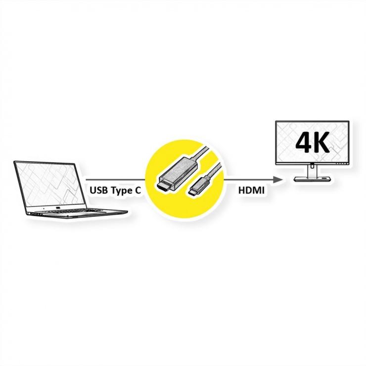 Imagine Cablu activ optic USB type C la HDMI (AOC) 4K60Hz T-T 30m, Roline 14.01.3474