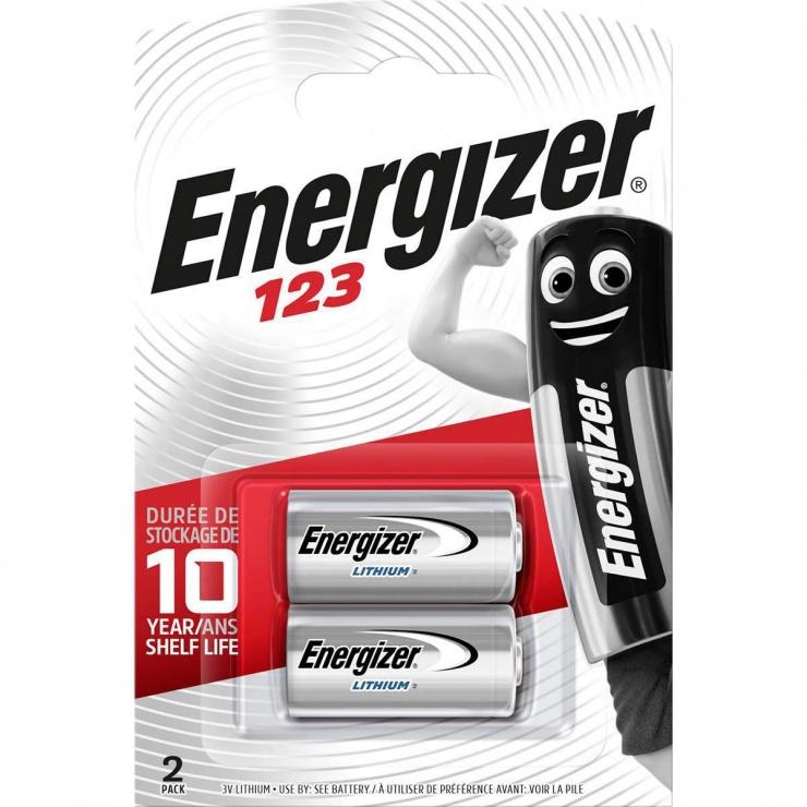 Imagine Set 2 buc baterii Lithium 3V 123, ENERGIZER E300687500