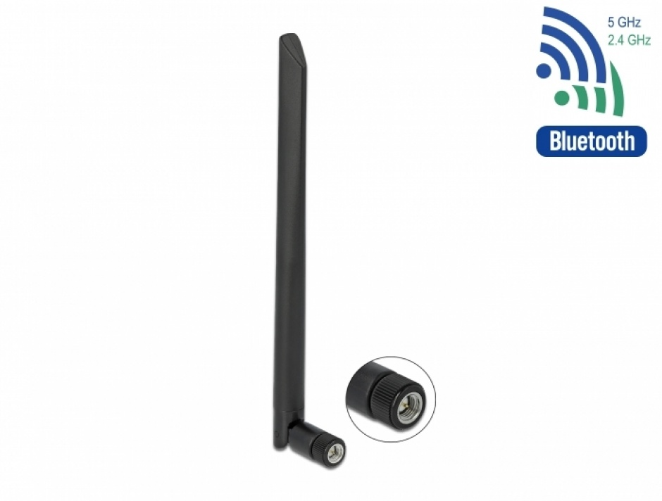 Imagine Antena WLAN 802.11 a/ax/a/b/g/n RP-SMA plug 5 dBi 20cm omnidirectional, Delock 12636