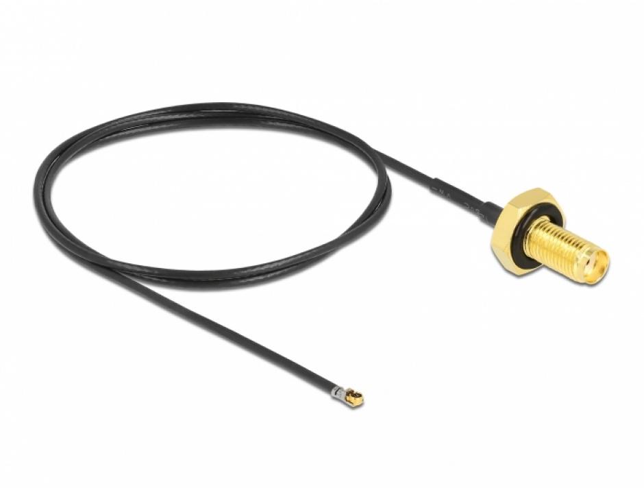 Imagine Adaptor SMA bulkhead la MHF® 4L LK 1.37 50cm rezistent la stropire, Delock 12667